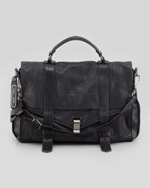 PS1 Large Leather Mailbag, Black