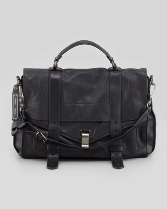 PS1 Large Leather Mailbag, Black
