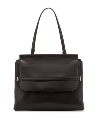 Top-Handle Flap Satchel Bag, Black