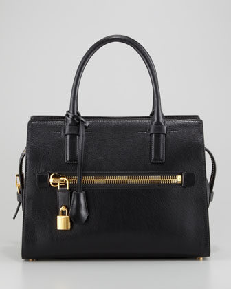 Medium Calfskin Executive Tote Bag, Black