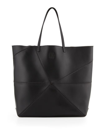 Lia Origami Leather Tote Bag, Black