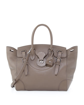Soft Ricky 33 Calfskin Satchel Bag, Taupe
