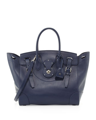 Soft Ricky 33 Calfskin Satchel Bag, Navy