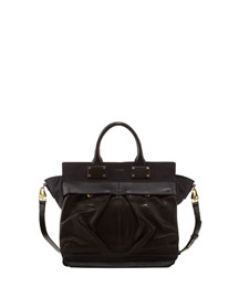 Pilot Large Leather Satchel Bag, Black