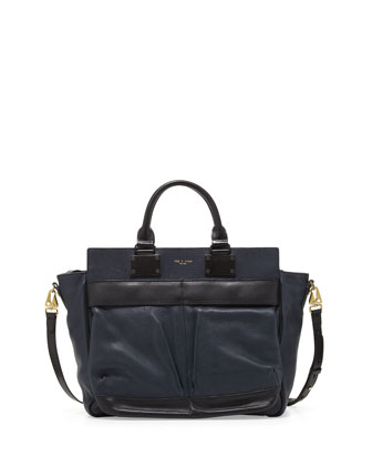 Pilot Large Leather Satchel Bag, Navy