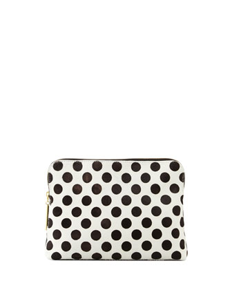 31-Minute Polka Dot Cosmetic Bag, Black/White