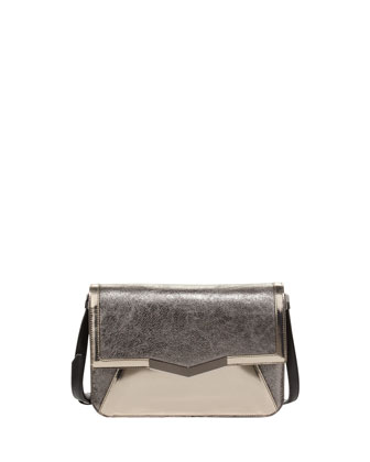 Affine Small Metallic Shoulder Bag, Silver