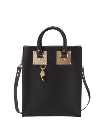 Mini Buckled Leather Tote Bag, Black