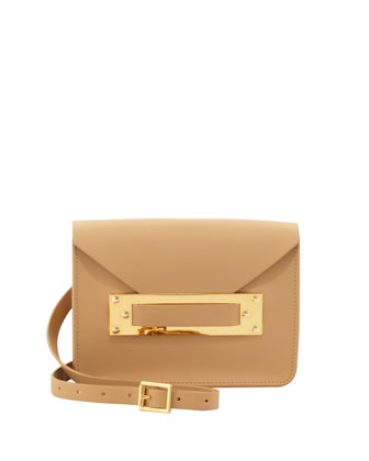 Leather Mini Envelope Shoulder Bag, Tan