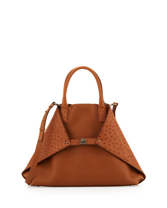 Ai Medium Ostrich Tote Bag, Light Brown