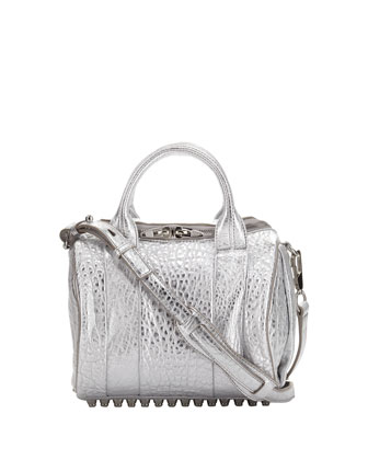 Rockie Dumbo Metallic Satchel Bag, Silver