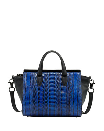 Pelican Mini Snakeskin Satchel Bag, Blue