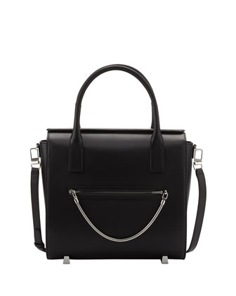 Chastity Large Leather Satchel Bag, Black