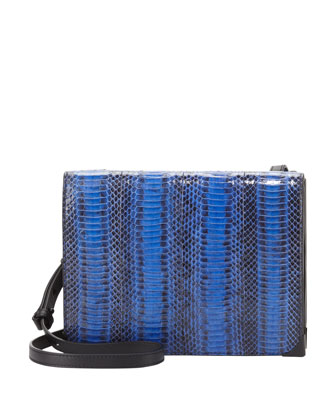 Prisma Skeletal Double-Pocket Snake Crossbody Bag, Blue