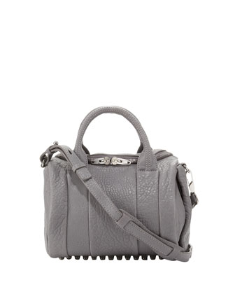 Rockie Dumbo Pebbled Satchel Bag, Gray