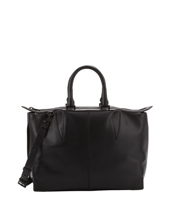 Prisma Skeletal Leather Satchel Bag, Black