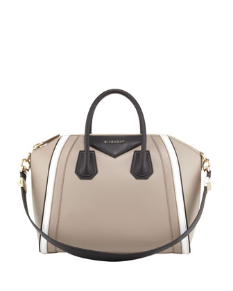 Antigona Medium Tricolor Satchel Bag, Sand