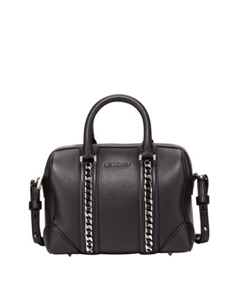 Lucrezia Mini Chain-Link Satchel Bag, Black