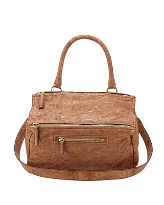 Pandora Medium Old Pepe Satchel Bag, Medium Brown