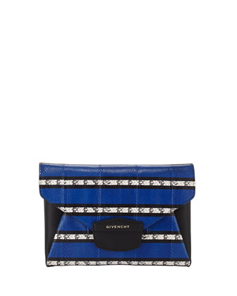 Antigona Striped Snake Envelope Clutch Bag, Blue
