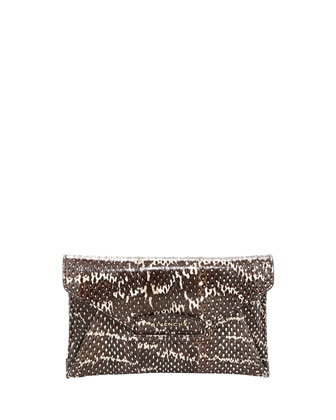 Antigona Small Snakeskin Envelope Clutch Bag, Black