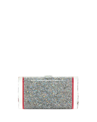 Lara Backlit Confetti Acrylic Clutch Bag, Silver