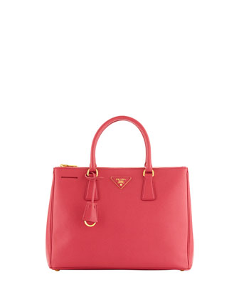 Saffiano Medium Double-Zip Executive Tote with Strap, Fuchsia
