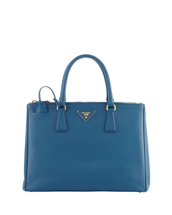 Saffiano Medium Double-Zip Executive Tote with Strap, Turquoise Aqua