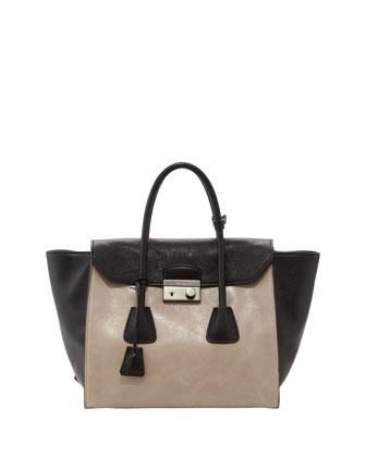 Bicolor Glace Calf Tote Bag, Light Gray