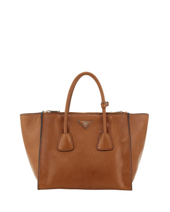 Glace Twin-Pocket Leather Shopper Tote, Light Brown