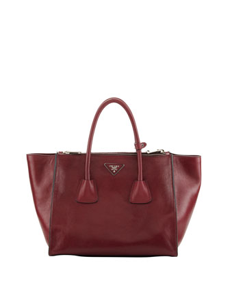 Glace Twin-Pocket Leather Shopper Tote, Fuchsia