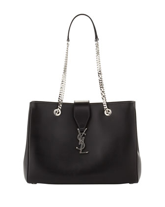 Cassandre Chain-Strap Shopper Bag, Black/Silver