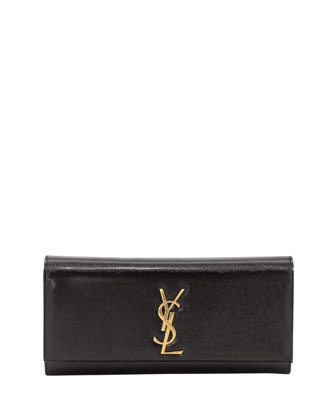 Cassandre Logo Clutch Bag, Black