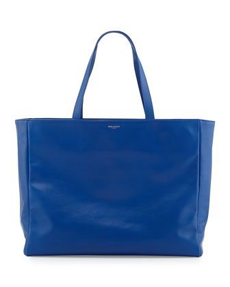 Reversible East-West Shopper Tote Bag, Royal/Black