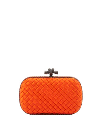 Satin-Snakeskin Knot Minaudiere, Orange