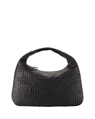 Veneta Large Waves Hobo Bag, Black