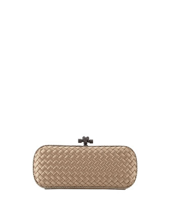 Satin-Snakeskin Stretch Knot Minaudiere, Light Brown