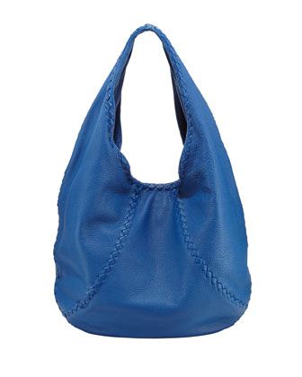 Medium Cervo Leather Hobo Bag, Blue