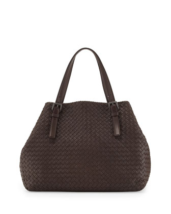 Large Double-Strap A-Shape Tote Bag, Brown Light