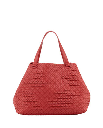 Waves Large Ruffle Tote Bag, Red