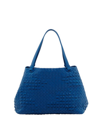 Small Waves Ruffle Tote Bag, Blue