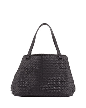 Small Waves Ruffle Tote Bag, Black