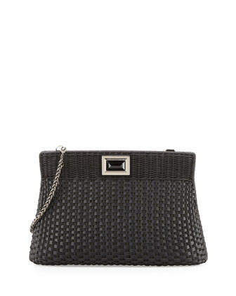 Amo Large Woven Clutch Bag, Black