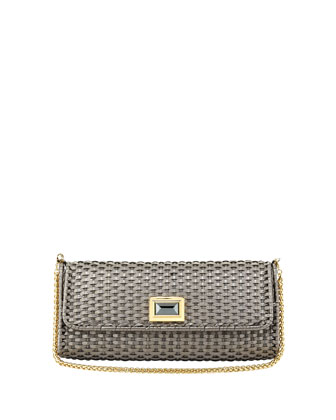 Solid Metallic Woven Clutch Bag, Silver