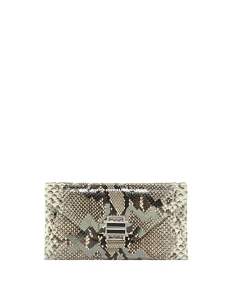 Electra Medium Python Clutch Bag, Anthricite