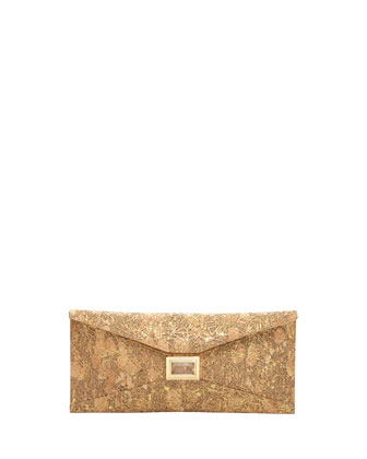 Super Stretch Prunella Embossed Cork Clutch Bag, Gold