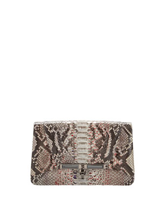 Priscilla Speckled Python Clutch Bag, Gray