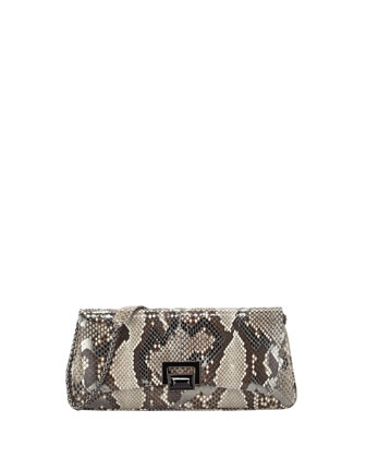 Honor Zigzag Python Clutch Bag, Anthracite