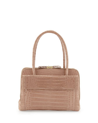 Crocodile Double-Zip Executive Shoulder Tote Bag, Neutral