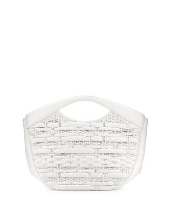 Nancy-Like Woven Python Tote Bag, White